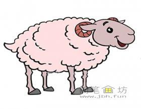 可爱的粉色卡通小绵羊的画法