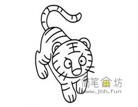 儿童简笔画小老虎的画法步骤教程