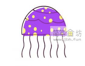 儿童学画画:彩色水母简笔画画法教程