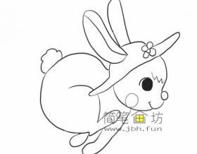 可爱的奔跑的兔子的简笔画