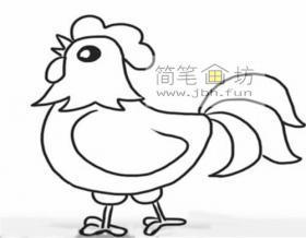 简单的大公鸡的简笔画画法步骤