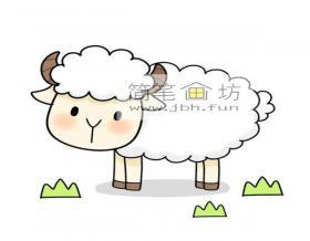 超萌的小绵羊的简笔画画法步骤