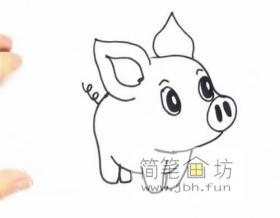 超级萌的小猪猪的简笔画教程