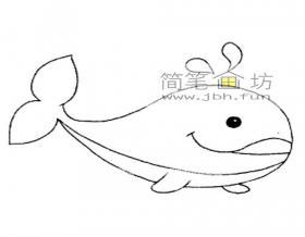 可爱的小鲸鱼的简笔画绘画步骤