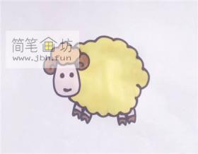 卡通小绵羊的简笔画画法步骤【彩色】