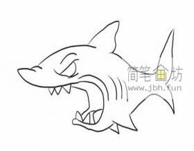 吃人的大鲨鱼的简笔画画法详解