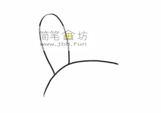 趴着的小萌兔子的简笔画(1)