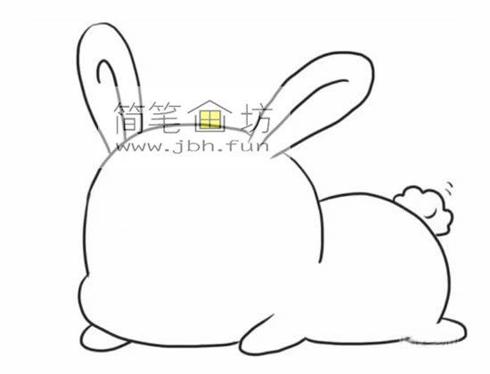 趴着的小萌兔子的简笔画(3)