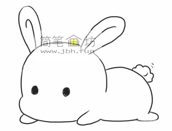 趴着的小萌兔子的简笔画(4)