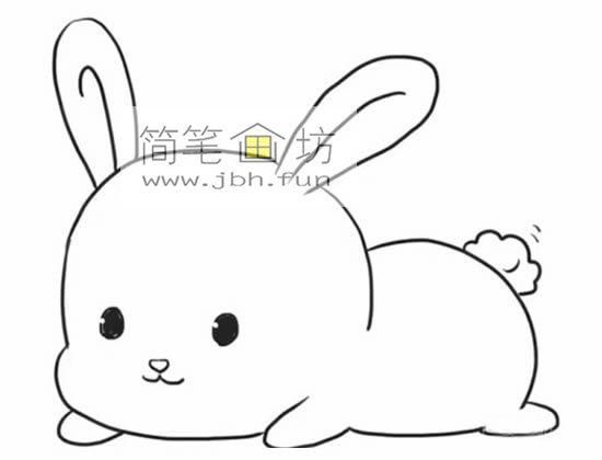 趴着的小萌兔子的简笔画(5)