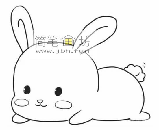 趴着的小萌兔子的简笔画(6)