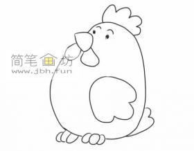 图解母鸡的绘画步骤