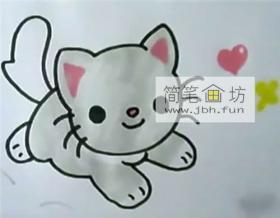 趴着的小萌猫咪的简笔画画法步骤