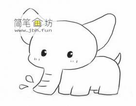 可爱的大象的简笔画绘画方法