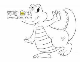 萌萌哒的卡通小鳄鱼的简笔画教程