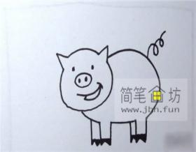 图解微笑的小猪的简笔画画法