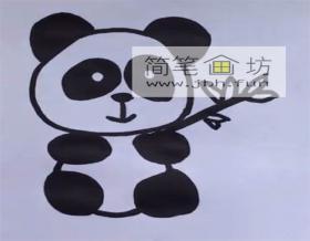 抱着竹子的大熊猫的简笔画