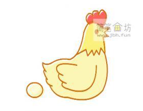 彩色下蛋母鸡的简笔画绘画方法