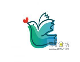 和平鸽的简笔画教程【彩色】