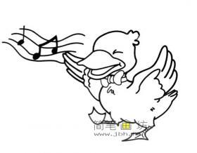 唱歌的小鸭子简笔画图片