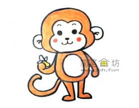 吃香蕉的猴子的简笔画图片【彩色】