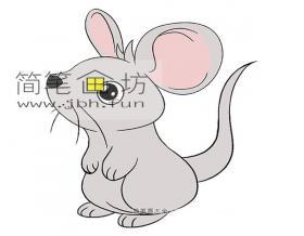 可爱小老鼠的简笔画教程【彩色】