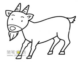 成年山羊的简笔画素材1幅