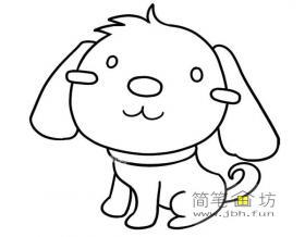 可爱的小狗的简笔画素材