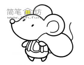 拿着包袱的小老鼠的简笔画