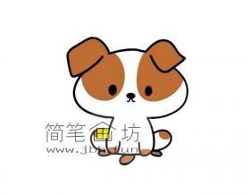 可爱的卡通小狗的简笔画素材