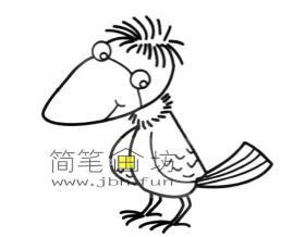 可爱的卡通小乌鸦的简笔画