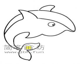 可爱的小海豚的简笔画素材1幅