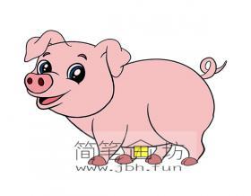 可爱的小猪的简笔画【彩色】