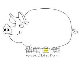 开心的小猪的简笔画图片