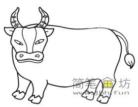 黄牛简笔画素材2幅