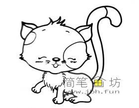 开心漂亮的小猫简笔画图片