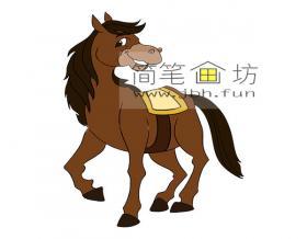 可爱的卡通小马简笔画图片【彩色】