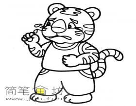 哭泣的卡通小老虎简笔画图片