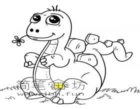 调皮的小恐龙简笔画图片