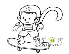 玩滑板的猴子简笔画图片