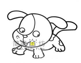 调皮的小狗的简笔画图片