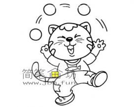 玩杂技的小猫简笔画图片