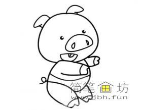 蹒跚学步的卡通小猪简笔画