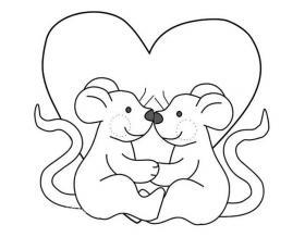 两只老鼠过情人节简笔画图片