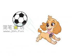 玩耍的可爱的彩色小狗的简笔画大全
