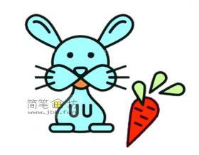 彩色的卡通小兔子的简笔画图片