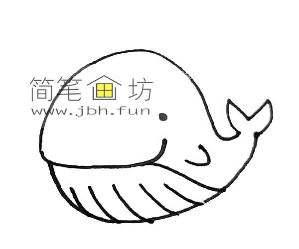 彩色可爱的鲸鱼的简笔画教程【彩色】(5)