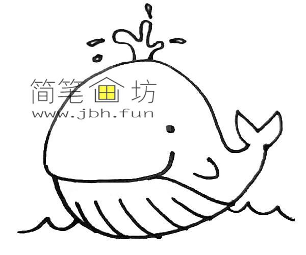 彩色可爱的鲸鱼的简笔画教程【彩色】(6)
