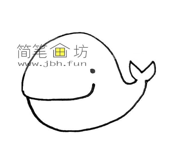 彩色可爱的鲸鱼的简笔画教程【彩色】(3)
