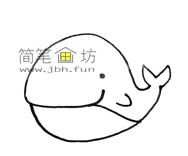 彩色可爱的鲸鱼的简笔画教程【彩色】(4)